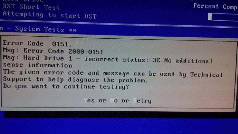 What Is Dell Error Code 2000-0151